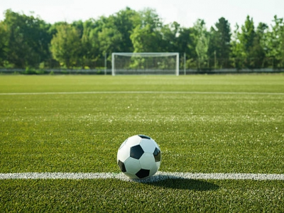 Soccer ball lying on the grass with the net of the goal as a backdrop